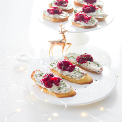 Whipped Goat Cheese and Cranberry Jalapeno Crostini