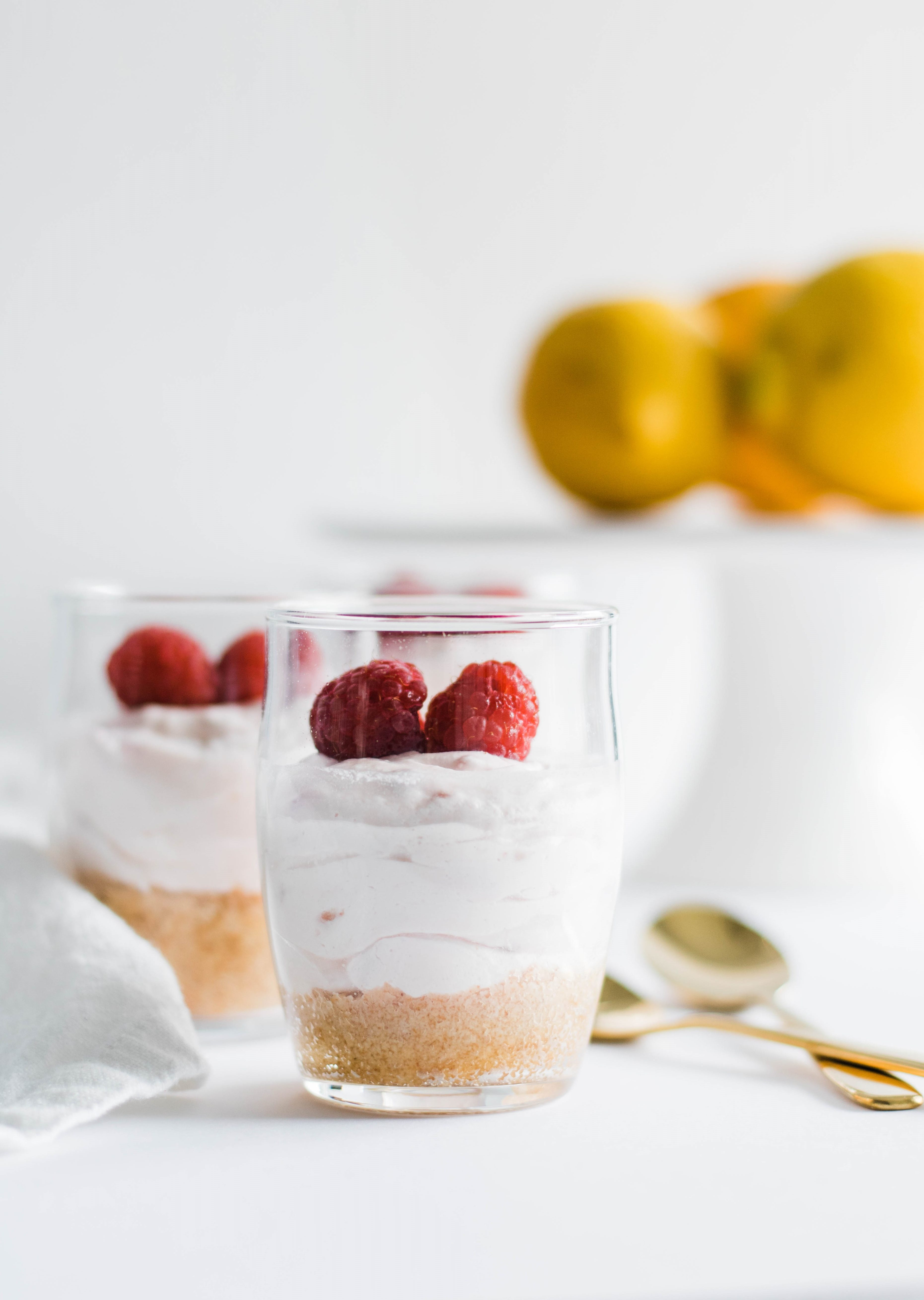 No-Bake Lemon Raspberry Cheesecake Cups.
